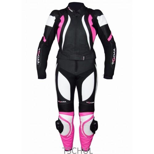 Мото-комбинезон Tschul 546 Черно-бело-розовый